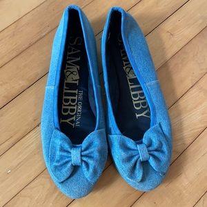 2 for $15 Sam & Libby denim ballet bow flat